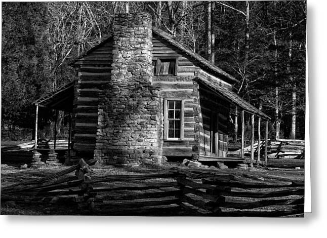 Sunlite And Mountains. Greeting Cards - Cades Cove Olivers Cabin in Black and White Greeting Card by Greg and Chrystal Mimbs