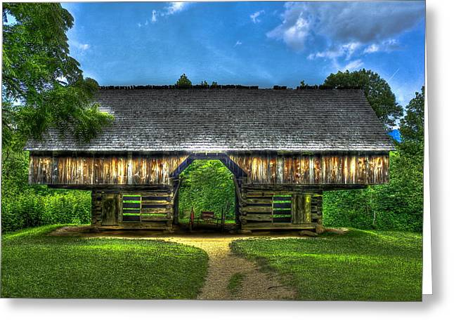 Old Barns Greeting Cards - Cades Coves Cantilever Barn Greeting Card by Reid Callaway