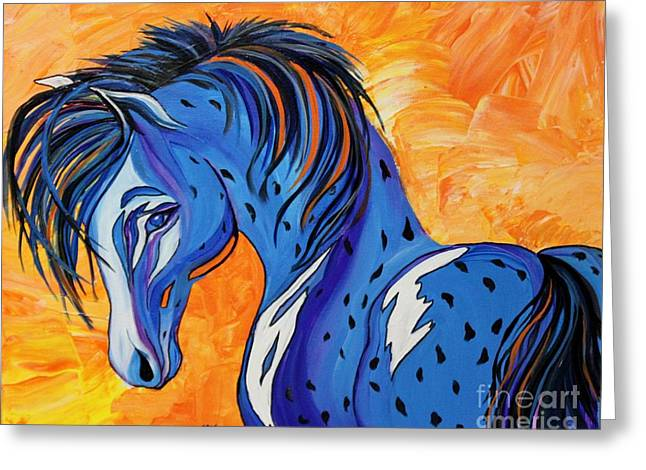 Cadet The Blue Horse Greeting Card by Janice Rae Pariza