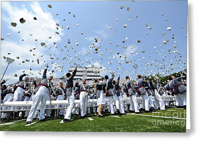 Cadets Toss Their Hats At The End Greeting Card by Stocktrek Images