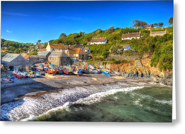 Fishing Boats Greeting Cards - Cadgwith Cornwall England UK on the Lizard Greeting Card by Michael Charles