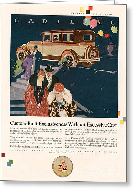 American Automobiles Greeting Cards - Cadillac 1925 1920s Usa Cc Cars Greeting Card by The Advertising Archives