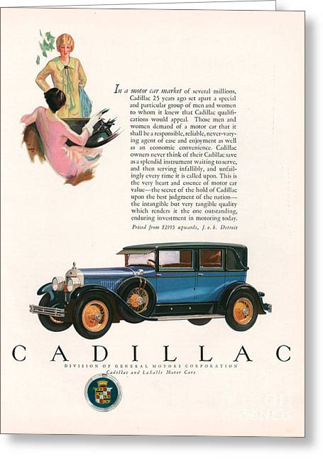 American Automobiles Greeting Cards - Cadillac 1927 1920s Usa Cc Cars Greeting Card by The Advertising Archives