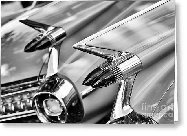 Dual Greeting Cards - Cadillac Bullet Tail lights Monochrome Greeting Card by Tim Gainey