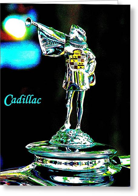 Vintage Hood Ornaments Paintings Greeting Cards - Cadillac Greeting Card by Cliff Wilson