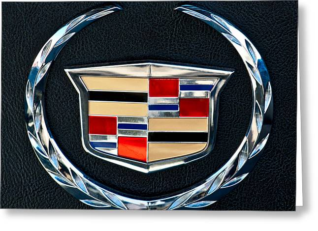 Vehicle Greeting Cards - Cadillac Emblem Greeting Card by Jill Reger