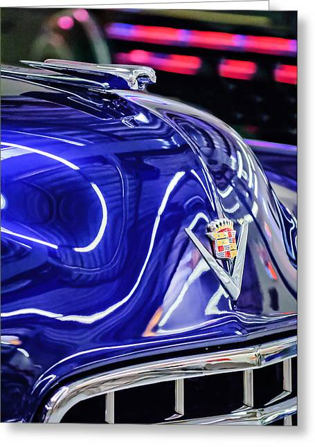 Vintage Hood Ornaments Greeting Cards - Cadillac Hood Ornament - Emblem Greeting Card by Jill Reger