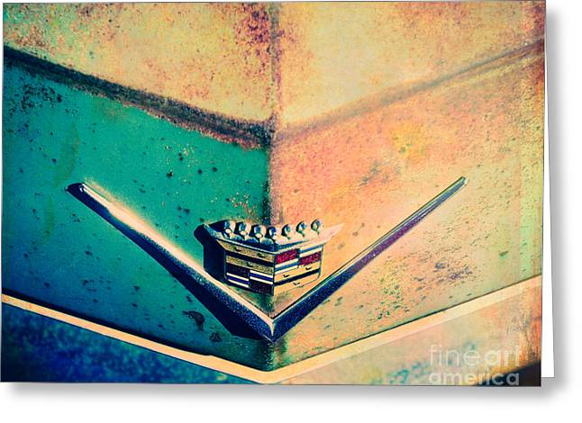 Turquoise And Rust Greeting Cards - Cadillac in the Sun Greeting Card by Sonja Quintero