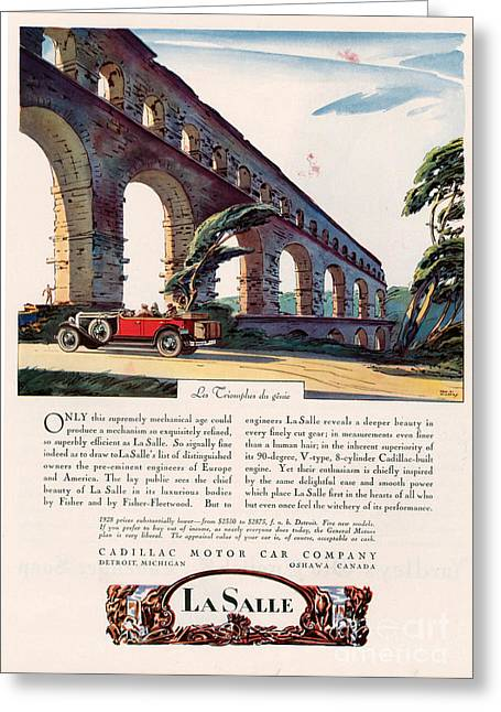 American Automobiles Greeting Cards - Cadillac La Salle 1928 1920s Usa Cc Greeting Card by The Advertising Archives