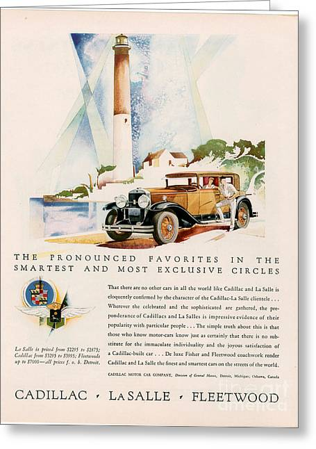 American Automobiles Greeting Cards - Cadillac La Salle 1929 1920s Usa Cc Greeting Card by The Advertising Archives