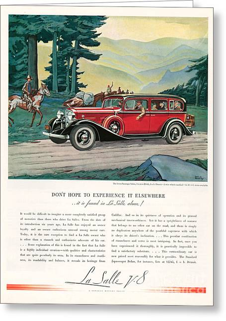 American Automobiles Greeting Cards - Cadillac La Salle 1933 1930s Usa Cc Greeting Card by The Advertising Archives