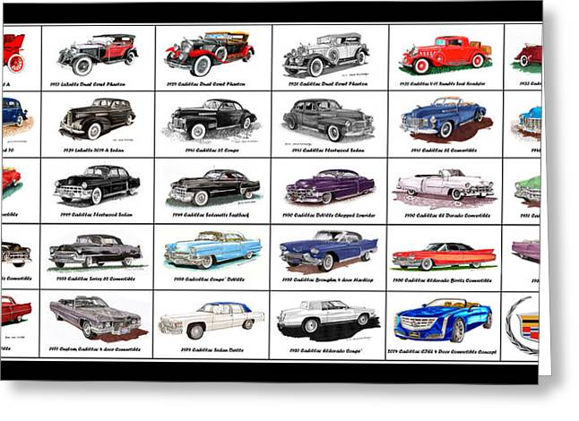 Caddy Mixed Media Greeting Cards - CADILLAC La SALLE AUTOMOTIVE POSTER Greeting Card by Jack Pumphrey