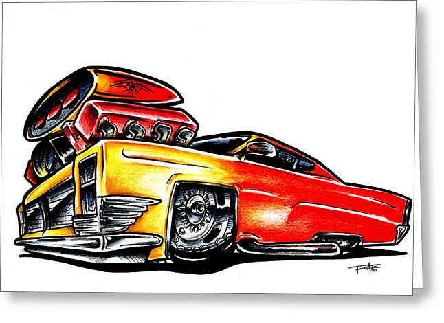 Caddy Mixed Media Greeting Cards - Cadillac muscle Greeting Card by Big Mike Roate