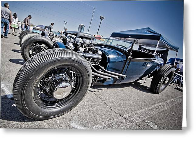Kustom Greeting Cards - Cadillac Powered Rod Greeting Card by Merrick Imagery