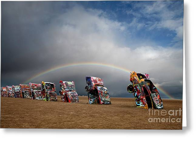 Customized Greeting Cards - Cadillac Ranch Greeting Card by Keith Kapple