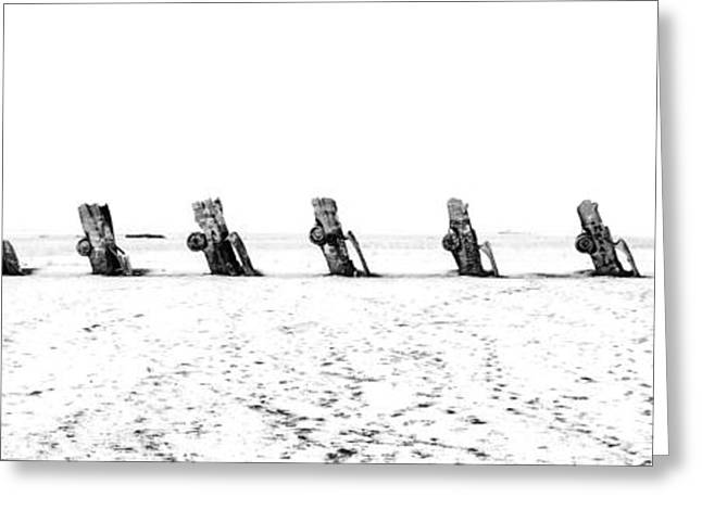 Installation Art Greeting Cards - Cadillac Ranch Whiteout 001 BW Greeting Card by Lance Vaughn