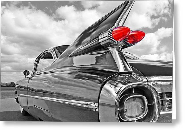 Geometric Artwork Greeting Cards - Cadillac Tail Fins - Square Greeting Card by Gill Billington