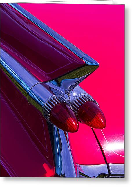 Motorized Greeting Cards - Cadillac Tail Lights Greeting Card by Garry Gay