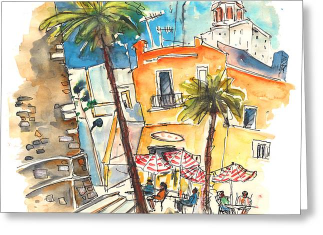 Town Square Drawings Greeting Cards - Cadiz Spain 04 Greeting Card by Miki De Goodaboom