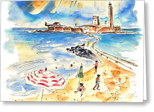 On The Beach Drawings Greeting Cards - Cadiz Spain 09 Greeting Card by Miki De Goodaboom