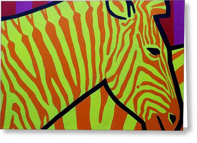 African Greeting Greeting Cards - Cadmium Zebra Greeting Card by John  Nolan