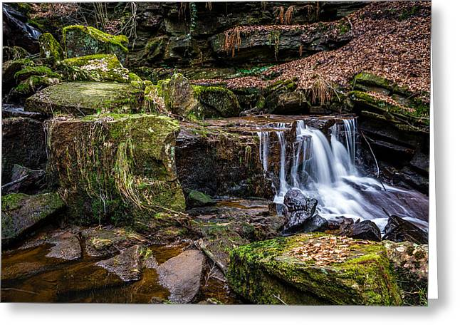 Hiking Greeting Cards - Cadshaw Brook Waterfall. Greeting Card by Daniel Kay