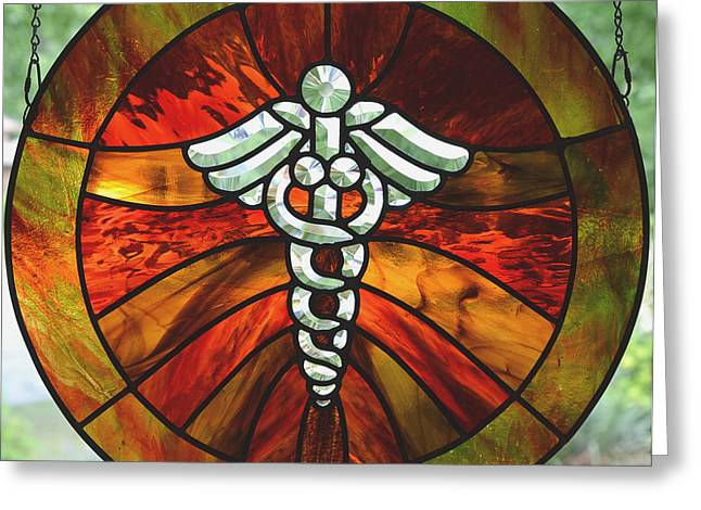 Medical Glass Greeting Cards - Caduceus Tribute Greeting Card by Marilynn Brandriff