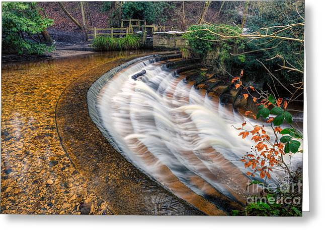 Stepping Stones Greeting Cards - Caeau Weir Greeting Card by Adrian Evans