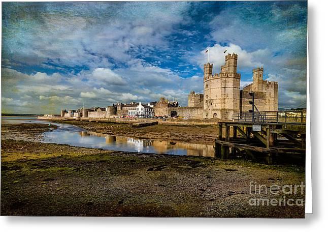 Flag Pole Greeting Cards - Caernarfon Castle Greeting Card by Adrian Evans