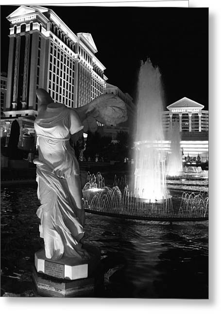 """winged Victory"" Greeting Cards - Caesars Fountain BW Greeting Card by Jenny Hudson"