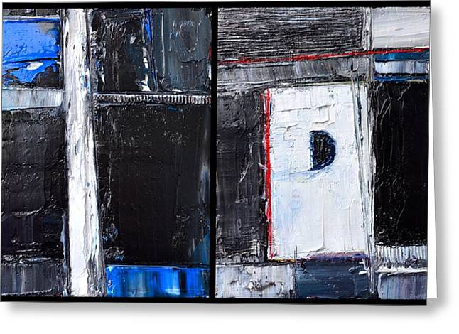 Division Greeting Cards - CAESURA - ABSTRACT DIPTYCH - abwgc34 Greeting Card by Ana Maria Edulescu