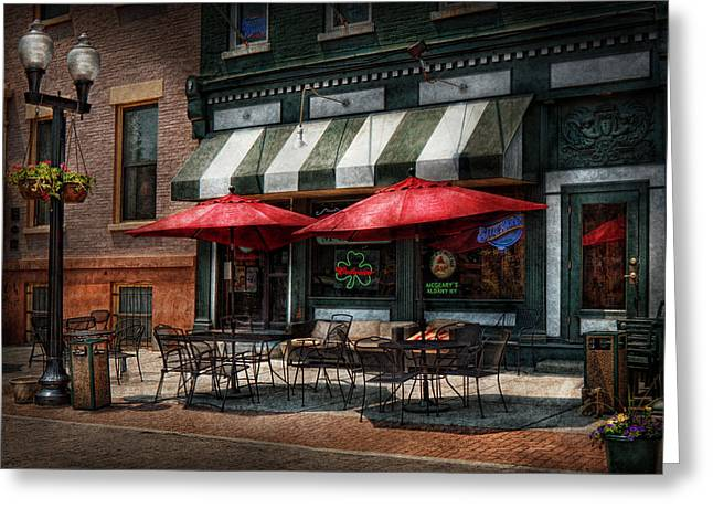 Cafe - Albany Ny - Mc Geary's Pub Greeting Card by Mike Savad