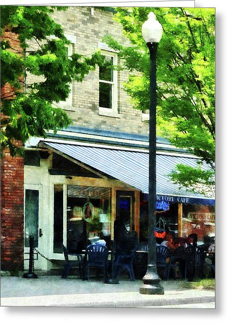 Albany Greeting Cards - Cafe Albany NY Greeting Card by Susan Savad