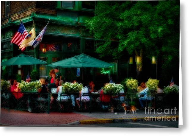 Cafe Alfresco Greeting Card by Susan Candelario
