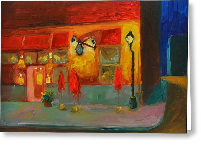 In The Corner Greeting Cards - Cafe at Night Greeting Card by Patricia Awapara