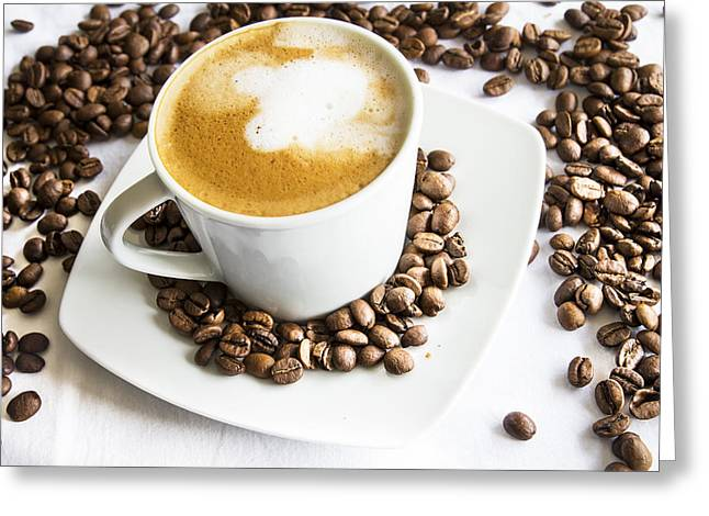 Decaf Greeting Cards - Cafe au Lait and Beans Greeting Card by Nomad Art And  Design