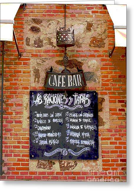 Menu Greeting Cards - Cafe Bar Greeting Card by Sophie Vigneault