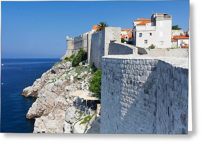 Fortified Wall Greeting Cards - Cafe Below The City Wall At Old Town Greeting Card by Panoramic Images