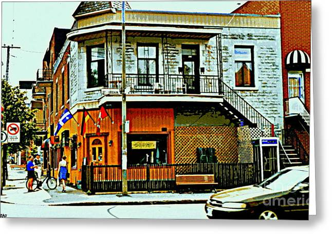 Spiral Staircase Paintings Greeting Cards - Cafe Berlin Restaurant Corner St.urbain Fleurs De Lys Flags Montreal Bistro Coffee Shop City Scene Greeting Card by Carole Spandau