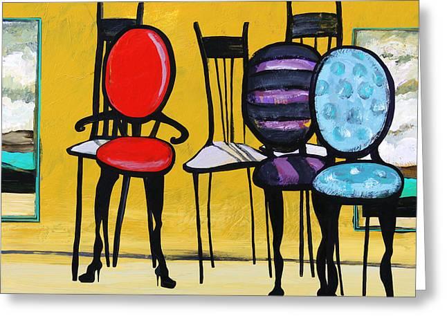 Karon Greeting Cards - Cafe Chairs Greeting Card by Karon Melillo DeVega