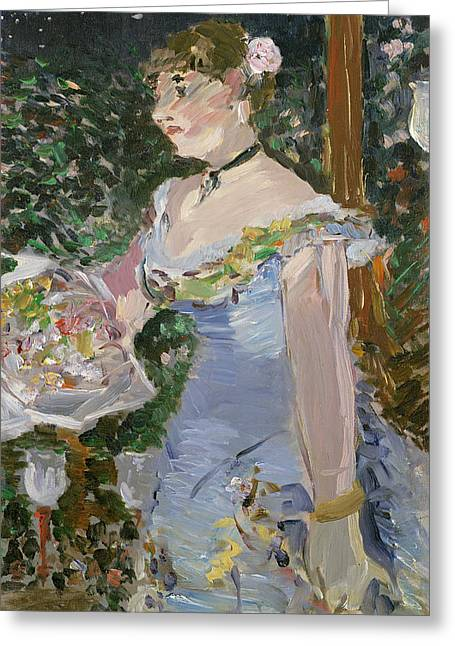 Blue Necklace Greeting Cards - Cafe Concert Singer  Greeting Card by Edouard Manet