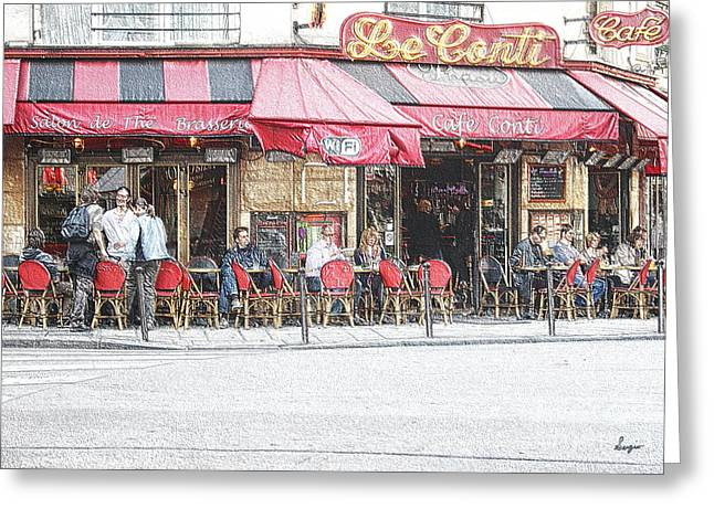 Coffee Drinking Greeting Cards - Cafe Conti Greeting Card by Sergio B