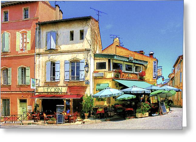 Southern France Greeting Cards - Cafe Corner Greeting Card by Douglas J Fisher