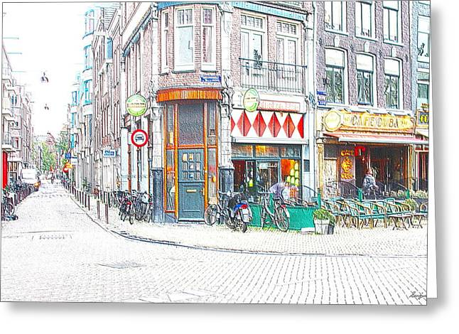 Coffee Drinking Greeting Cards - Cafe Cuba Amsterdam Greeting Card by Sergio B