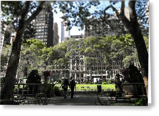 Bryant Greeting Cards - Cafe Culture - Bryant Park Greeting Card by Terry Bean