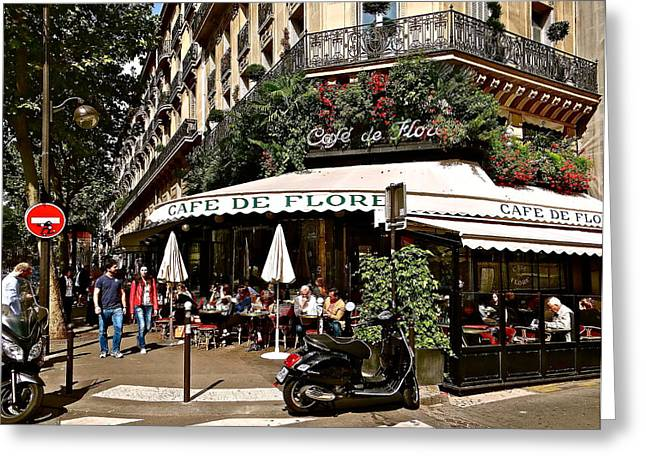 Jean-germain Greeting Cards - Cafe De Flore Greeting Card by Ira Shander