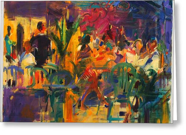 Chairs Greeting Cards - Cafe De La Place, St Paul De Vence Oil On Canvas Greeting Card by Peter Graham