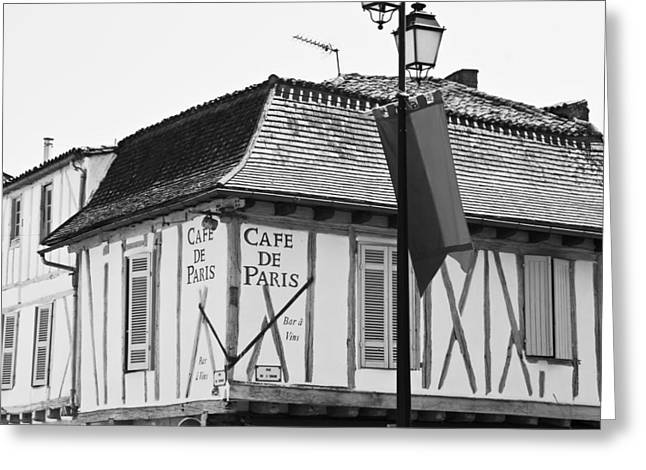 White Frame House Greeting Cards - Cafe de Paris Greeting Card by Nomad Art And  Design