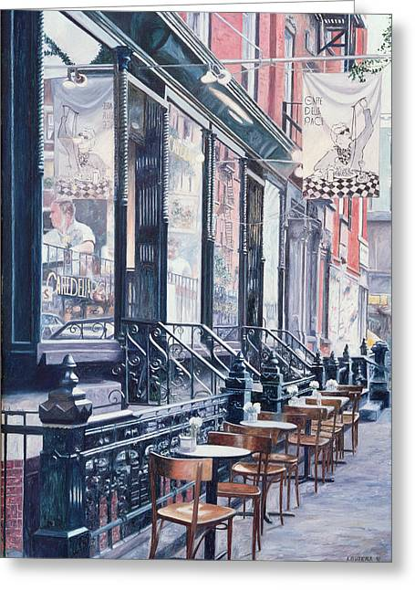 Fresco Greeting Cards - Cafe Della Pace East 7th Street New York City Greeting Card by Anthony Butera