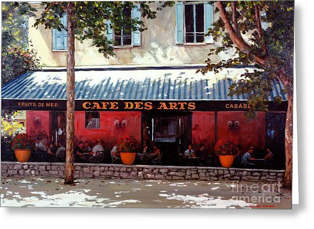 Saint-remy De Provence Greeting Cards - Cafe des Arts   Greeting Card by Michael Swanson